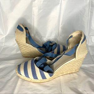 Shoes - Sam Edelman lace up stripped espadrilles